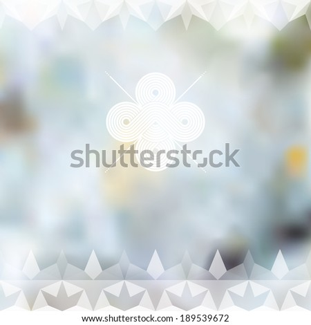 Minimalistic blue defocused background with white label and geometric ornament. Raster version - stock photo