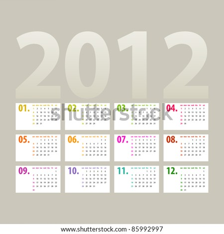 minimalistic 2012 calendar design - week starts with sunday - stock photo