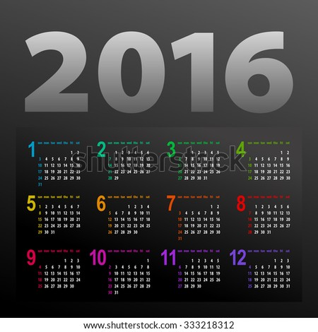 minimalistic dark multicolor 2016 calendar design - week starts with sunday - stock photo