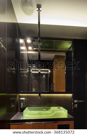 Minimalistic modern design style of a bathroom - stock photo