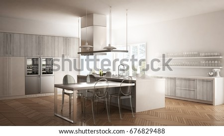 modern kitchen with table chairs and parquet floor white interior design 3d