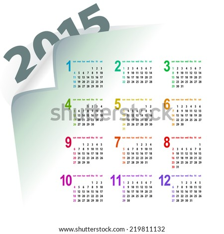 minimalistic multicolor 2015 calendar design - week starts with sunday  - stock photo