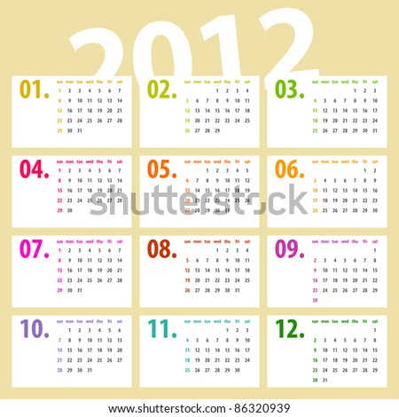 minimalistic, multicolor lines 2012 calendar design - week starts with sunday - stock photo