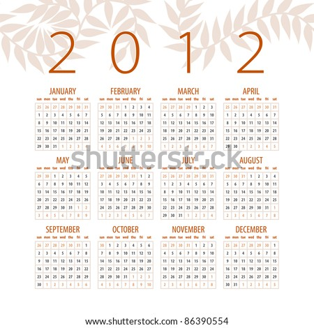 minimalistic 2012 red and white calendar design - week starts with sunday - stock photo