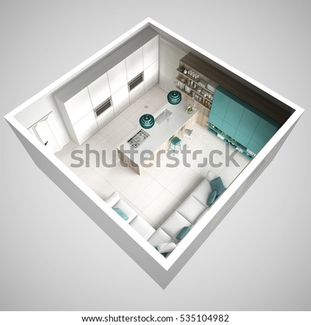 Minimalistic white kitchen, with wooden and turquoise details, minimal interior design, cross section, top view, 3d illustration