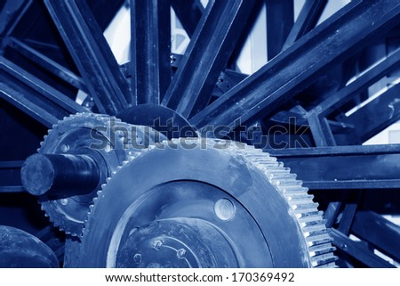 Mining machinery equipment in a factory, closeup of photo