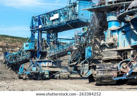 Mining machinery in the mine closeup - stock photo