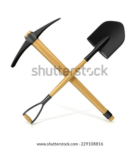 Mining tools, shovel and pickaxe. 3D render illustration, isolated on white background - stock photo
