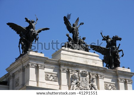 Ministry of Agriculture, Fisheries and Food of Spain headquarters, Madrid. Famous sculpture - Glory and the Pegasi. - stock photo