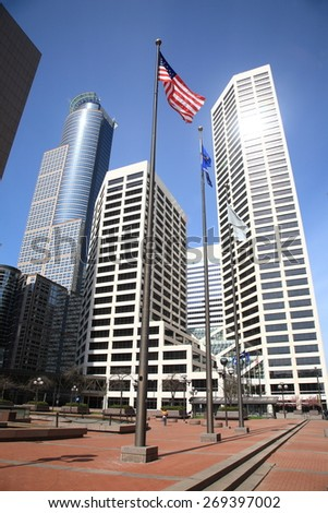 MINNEAPOLIS - APRIL 21: Towers and a downtown courtyard on April 21, 2010 in Minneapolis, Minnesota. The city is the 14th-largest metropolitan area in the U.S. with approximately 3.8 million people. - stock photo