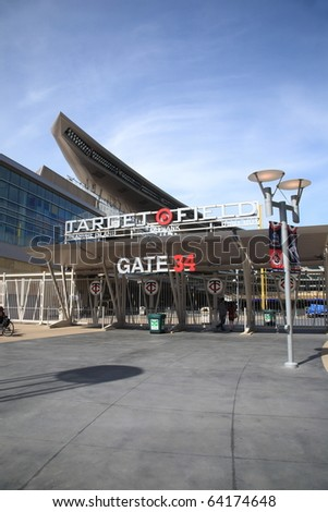MINNEAPOLIS - APRIL 21: Turnstiles and gate of brand new Target Field, home of the Minnesota Twins, a ballpark that returns outdoor baseball to the city, on April 21, 2010 in Minneapolis, Minnesota. - stock photo