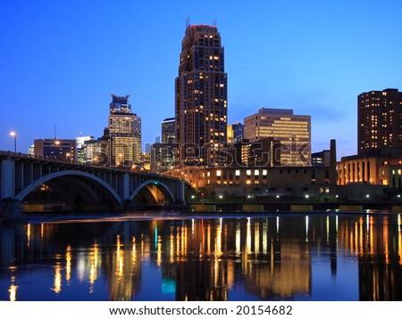 Minneapolis at night horizontal - stock photo