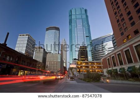Minneapolis City Photo downtown skyline Minnesota Midwest - stock photo