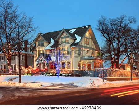 Minneapolis decorated with traffic and Christmas lights - stock photo