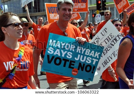 MINNEAPOLIS - JUNE 24:  Minneapolis Mayor R.T. Rybak urging a No vote on the Mn. Same-Sex Marriage Amendment on June 24, 2012, in Minneapolis.  The Amendment would validate only man-woman marriages. - stock photo