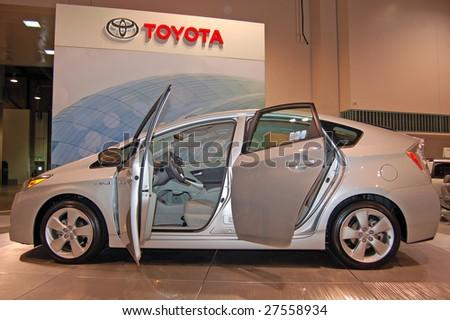 MINNEAPOLIS - MARCH 28: Toyota Prius Hybrid on display at the Minneapolis International Auto Show on March 28, 2009 in Minneapolis. - stock photo