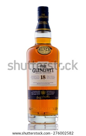 MINNEAPOLIS MINNESOTA, UNITED STATES OF AMERICA - April 2015: The Glenlivet 18 Year Scotch Whisky. The Glenlivet is a Famous Alcoholic Drink - stock photo
