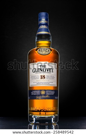 MINNEAPOLIS MINNESOTA, UNITED STATES OF AMERICA - February 2015: The Glenlivet 18 Year Scotch Whisky. The Glenlivet is a Famous Alcoholic Drink - stock photo