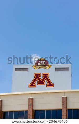 MINNEAPOLIS, MN/USA - JUNE 24, 2014: TCF Bank Stadium on the campus of the University of Minnesota. TCF Bank is an outdoor stadium and home to the Minnesota Golden Gophers football team. - stock photo