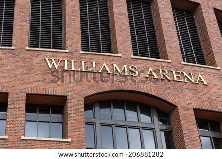 MINNEAPOLIS, MN/USA - JUNE 20, 2014:  Williams Arena on the campus of the University of Minnesota.  Williams Arena is home of the University of Minnesota Golden Gophers basketball team. - stock photo