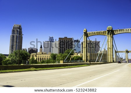 Minneapolis Skyline and Hennepin Bridge