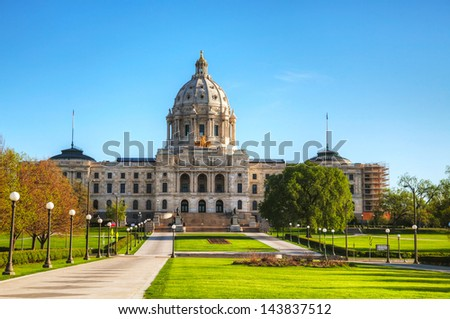 Minnesota capitol building in St. Paul, MN in the morning - stock photo