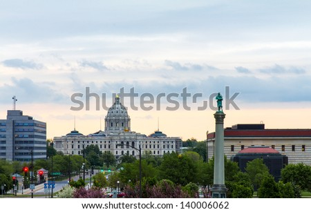 Minnesota State Capitol Building View From Cathedral of Saint Paul at Late Afternoon - stock photo