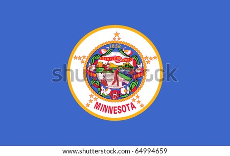 Minnesota state flag of America, isolated on white background. - stock photo