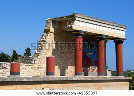 Minoan palace Knossos on Crete - stock photo
