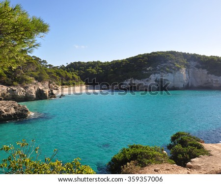 Minorca island view - beautiful lagoons and clear Balearic sea