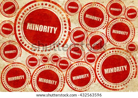 minority, red stamp on a grunge paper texture - stock photo