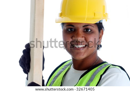 Minority woman construction worker on a white background - stock photo