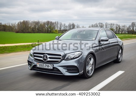 MINSK, BELARUS - APRIL 21, 2016: 2016 model year Mercedes-Benz E220d. The new E-Class is engineered to deliver more comfort, more efficiency and a more connected drive than ever before.