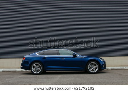 MINSK, BELARUS APRIL 14, 2017: New Audi A5 Sportback TFSI quattro at the test drive event for automotive journalists from Minsk