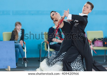 Minsk,Belarus-April 3, 2016: Shepelev Vladislav and Vinnik Aleksandra Perform Youth-2 Standard Program on the IDSA Championship Kinezis Star Cup ? 2016 in April 3, 2016 in Minsk, Republic of Belarus