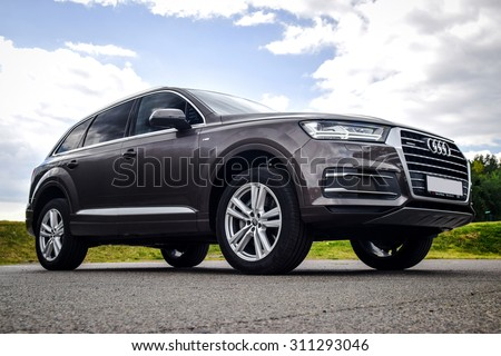 MINSK, BELARUS - AUGUST 28, 2015: 2015 model year all-new Audi Q7 3.0 TFSI at the test drive in Minsk, Belarus. Audi Q7 SUV is powered by 3.0 liter supercharged engine, which produces 333 hp of power.