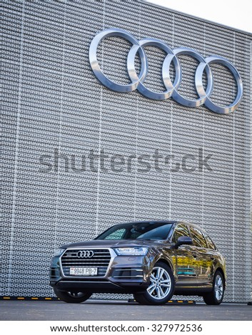 MINSK, BELARUS - AUGUST 28, 2015: 2015 model year all-new Audi Q7 3.0 TFSI at the test drive in Minsk, Belarus. Audi Q7 SUV is powered by 3.0 liter supercharged engine, which produces 333 hp of power. - stock photo
