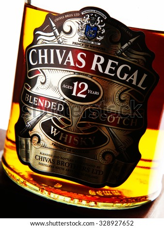 MINSK, BELARUS - FEBRUARY 7, 2010: Chivas Regal whisky bottle close up. Chivas Regal is blended scotch whisky produced by Chivas Brothers, owned by Pernod Ricard.