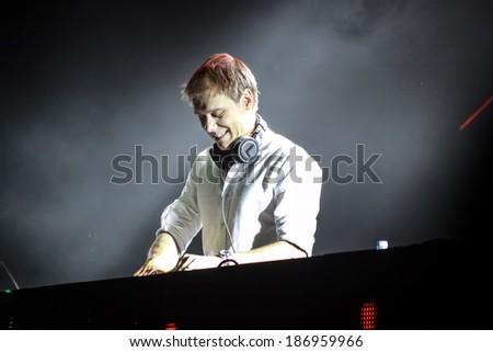 MINSK, BELARUS - FEBRUARY 21: Members of ARMIN ONLY: Intense show with Armin van Buuren in Minsk-Arena on February 21, 2014 - stock photo