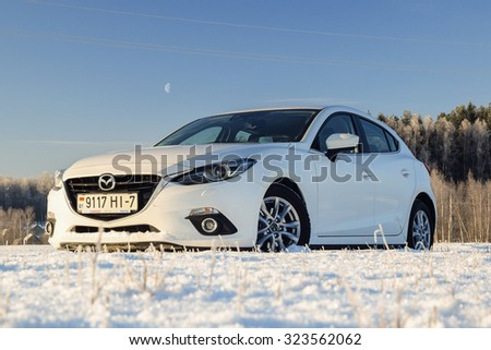 MINSK, BELARUS - JANUARY 10, 2014: All-new Mazda 3 2.0 Skyactiv at test-drive event in Minsk, Belarus. The new Mazda 3 is one of the best-handling cars in its class.