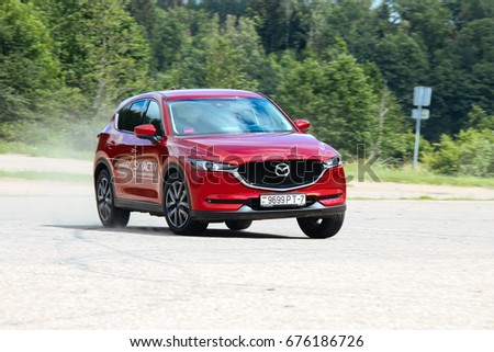 MINSK, BELARUS JULY 06, 2017: New Mazda CX-5 AWD at the test drive event for automotive journalists from Minsk