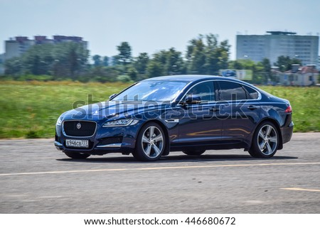MINSK, BELARUS - JULY 1, 2016: Test-drive event for 2016 model year Land Rover and Range Rover is held in Minsk, Belarus on July 1, 2016. Black Range Rover and black Range Rover Sport are on display.