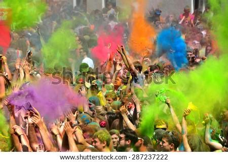 MINSK, BELARUS - JUNE 7: Second COLOR FEST is very popular among citizens (about 20000 people visit it) on June 7, 2015 in Minsk, Belarus. - stock photo