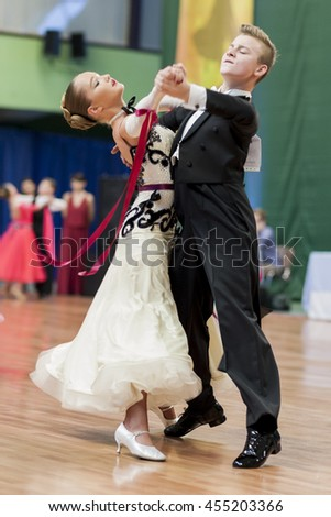 Minsk, Belarus -May 29, 2016: Danilevich Kevin and Dorosh Dariya Perform Juvenile-1 Standard European Program on National Championship of the Republic of Belarus in May 29, 2016 in Minsk, Belarus