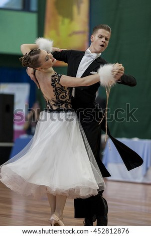 Minsk, Belarus-May 28, 2016: Ermolovich Konstantin and Snegir Anna Perform Youth-2 Standard Program on National Championship of the Republic of Belarus in May 28, 2016 in Minsk, Belarus