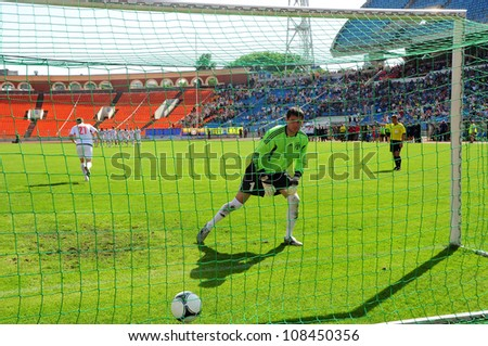 MINSK, BELARUS MAY 20: Nikolay Romaniuk (goalkeeper FC NAFTAN) after missed penalty during final cup match between FC NAFTAN and FC MINSK on May 20, 2012 in Minsk, Belarus - stock photo