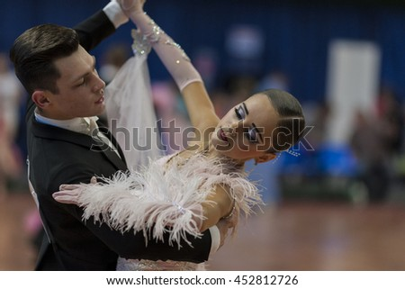 Minsk, Belarus-May 28, 2016: Unidentified Dance Couple Performs Juvenile-1 Standard European Program on National Championship of the Republic of Belarus in May 28, 2016 in Minsk, Republic of Belarus