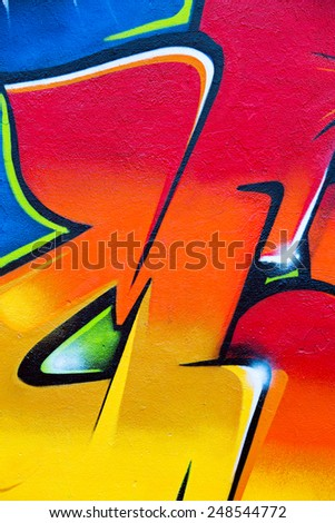 MINSK, BELARUS - NOVEMBER 11: Street art by unidentified artist. Fragment of the colorful graffiti walls on November 11th, 2014 in Minsk, Belarus.  - stock photo