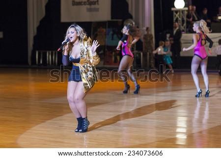 Minsk-Belarus, October 4, 2014: Kornelia Mango (Russia) performs with her show ballet on World Open Minsk -2014 WDSF Dance Championship in October 4, 2014 in Minsk, Republic Of Belarus - stock photo