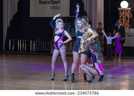 Minsk-Belarus, October 4,2014:Kornelia Mango (Russian Federation singer)performs with her show ballet on World Open Minsk -2014 WDSF Dance Championship in October 4, 2014 in Minsk,Republic Of Belarus - stock photo